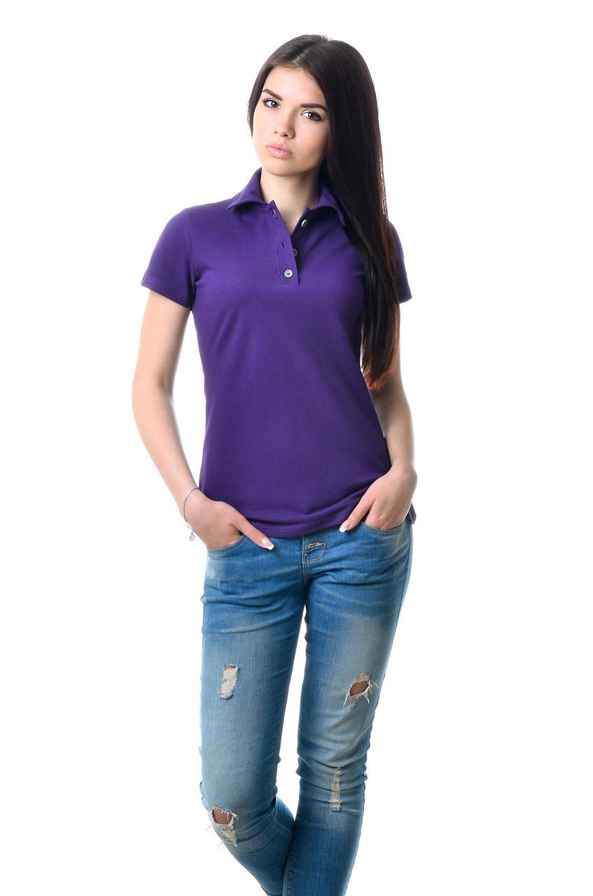 Модная женская футболка из хлопка с воротником поло фиолетовая
