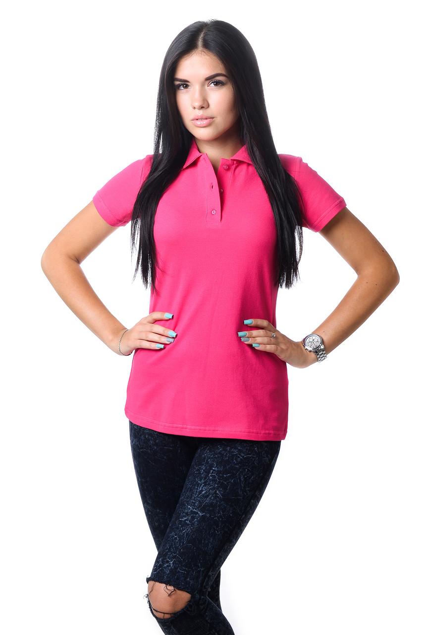 Модна жіноча футболка з бавовни з коміром поло малинова