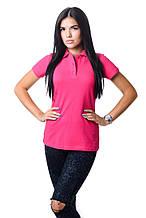 Модная женская футболка из хлопка с воротником поло малиновая