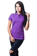 Модная женская футболка из хлопка с воротником поло темно-сиреневая