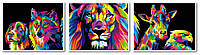 Картины по номерам 40х150 см. Триптих Радужный лев - Царь зверей