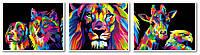 Набор для рисования 40х150 см. Триптих Радужный лев - Царь зверей, фото 1