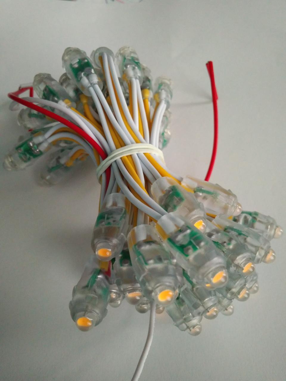 Светодиоды быстрого монтажа 9мм, светодиоды пиксели 12 вольт для рекламы желтый