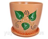 """Горшок цветочный лакированный """"Художественная дорисовка на оранжевом"""" 3л H=17cm D=18cm керамический."""