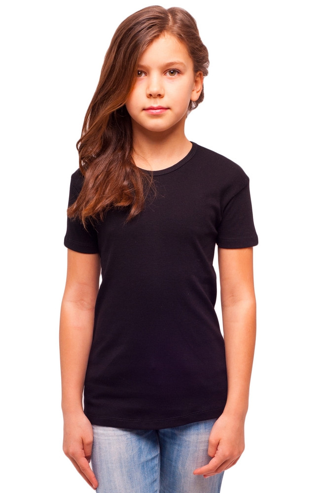 Чорна дитяча футболка для дівчаток річна без малюнка трикотажна бавовна Україна
