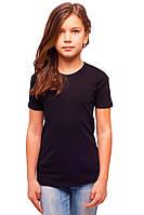 Черная детская футболка для девочек летняя без рисунка трикотажная хлопок (Украина)