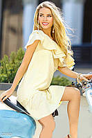 Хлопковое мини платье с воланом желто-белое