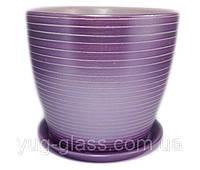 """Горщик квітковий без блюдця """"Серпантин фіолетовий"""" 3л лаванда H=17см D=18cm керамічний."""