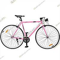 """Велосипед Profi FIX 28"""" Fixed Gear Bike, Фикс и Сингл спид (розовый)"""