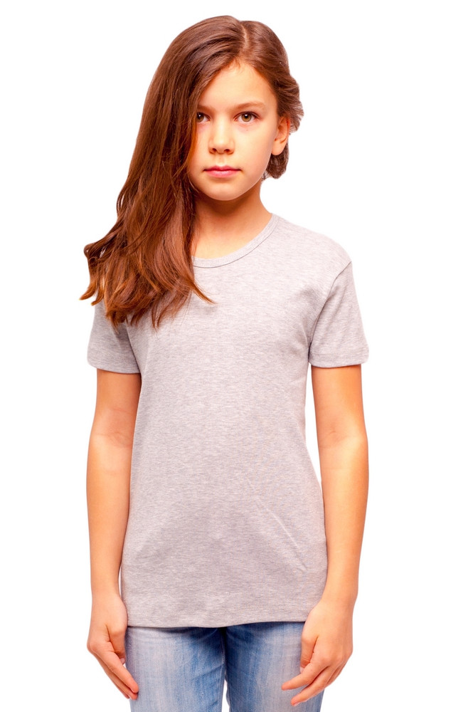 Детская серая футболка для девочек летняя без рисунка трикотажная хлопок Украина