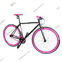 """Велосипед Profi FIX 28"""" Fixed Gear Bike, Фикс и Сингл спид (черно-сиреневый)"""