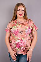 Гала. Женская блузка больших размеров. Роза креп. 52