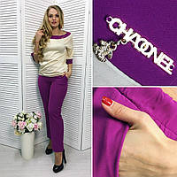 Женский Элегантный костюм фиолет Батал