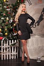 Красивое теплое трикотажное женское платье с элементами стеганной эко кожи