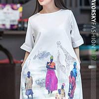 Платье  САФАРИ из бенгалин - коттона цвет белый с принтом