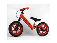 Беговел PROFI KIDS детский 12 д., колеса резина, пластиковой обод, тормоз, подножка, красный, M3436AB-3