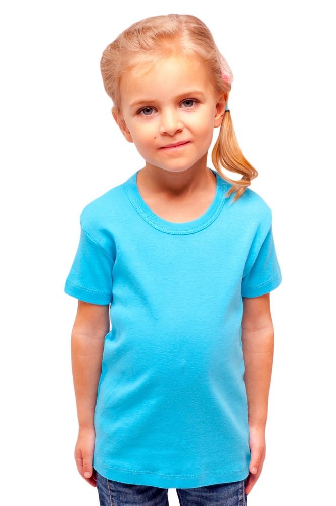 Детская голубая футболка для девочек однотонная летняя без рисунка трикотажная хб Украина