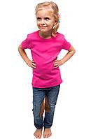 Детская футболка для девочек однотонная летняя без рисунка розовая трикотажная хб (Украина)