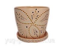 """Горшок цветочный лакированный """"Художественная дорисовка на карамеле"""" 2л H=14,5cm D=15cm керамический."""