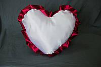 Подушка атласная сердце, рюш бордовый