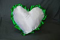 Подушка атласная сердце, рюш зеленый