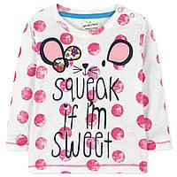 Кофта на теплую весну-осень для девочки от 2 до 7 лет (хлопок, застегивается на плече кнопками) ТМ Jumping Beans