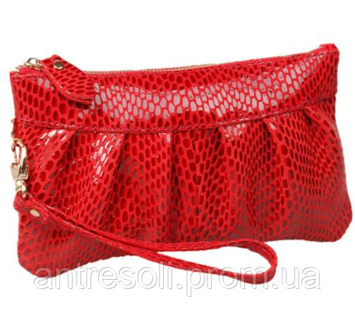 Сумка женская клатч красная натуральная кожа код 3-273