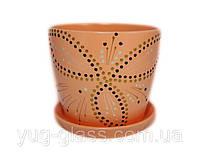 """Горщик квітковий лакований """"Художня дорисовка на помаранчевому"""" 2л H=14,5 cm D=15cm керамічний."""