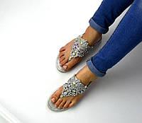 Женские босоножки - вьетнамки цвет серый с камнями, 37 38 40 41р