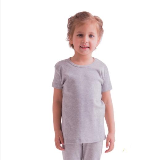 Дитяча сіра футболка для дівчаток спортивна річна без малюнка трикотажна бавовна Україна