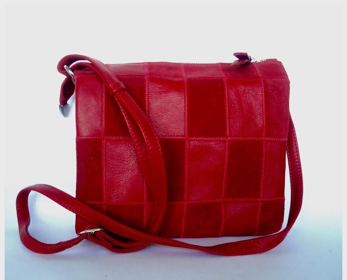 b3993e556ac6 Pavese (red) - Красная сумка через плечо на 5(!) отделений из  комбинированной кожи
