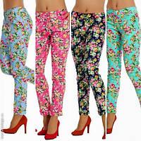 Модные женские брюки принт цветы норма / Украина / стрейч-коттон