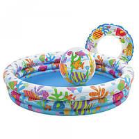 Детский надувной бассейн, мяч и круг Intex, 59469