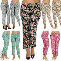 Модные женские брюки принт цветы батал / Украина / стрейч-коттон