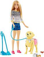 Набор кукла Барби блондинка с любимцем на прогулке Barbie
