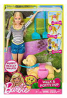 Набор кукла Барби блондинка с любимцем на прогулке Barbie, фото 1