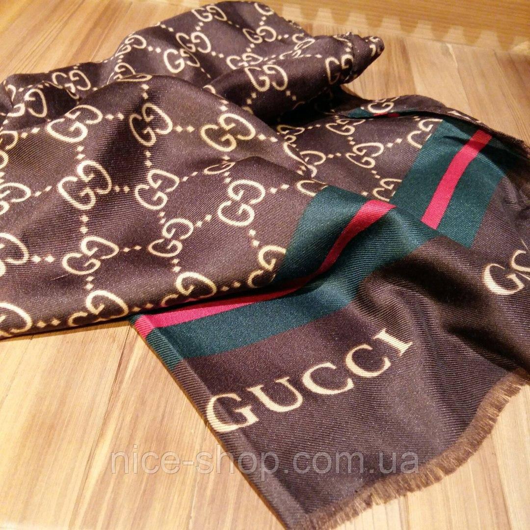 Тонкий хлопковый шарф Gucci коричневый