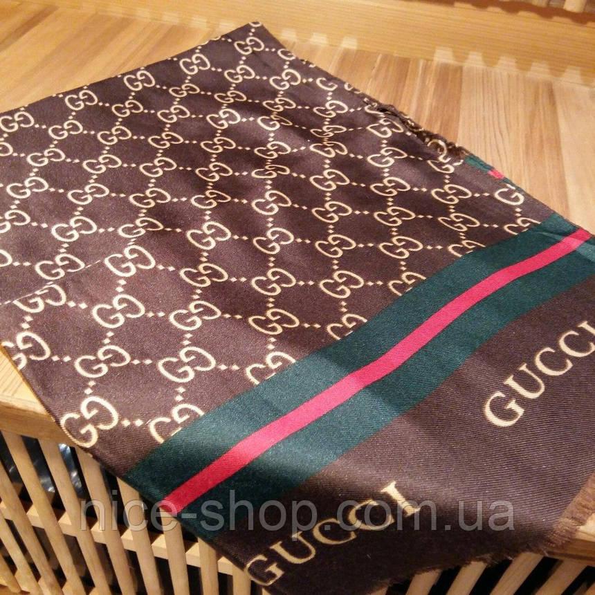 Тонкий хлопковый шарф Gucci коричневый, фото 2