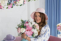 Шляпа пудрово-розовая из льна