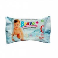 Детские влажные салфетки BRAVO без запаха 60 шт.