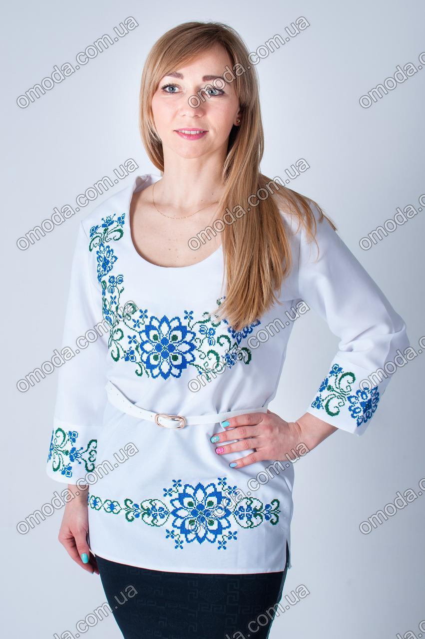Женская вышиванка - туника Ольга синего цвета