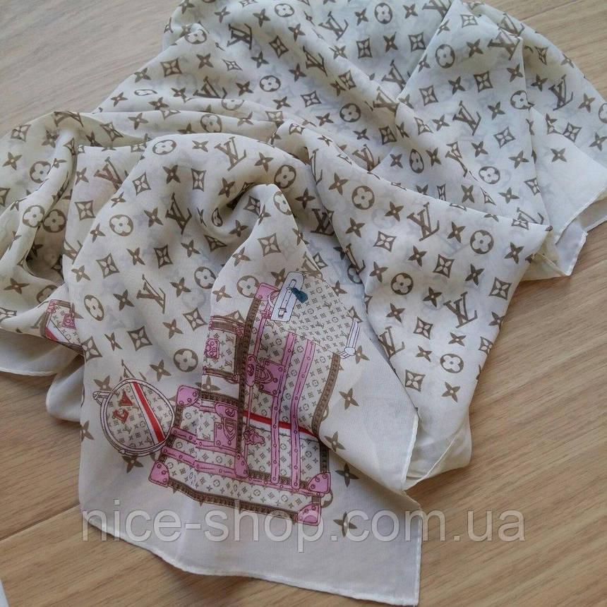 Тонкий шарф Louis Vuitton кремовый, шифон, фото 2