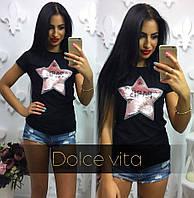 Женская футболка со звездой из паеток ткань турецкая вискоза черная