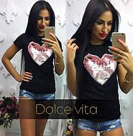 Женская футболка с сердцем из паеток ткань турецкая вискоза черная