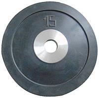Диск стальной обрезиненный 15 кг
