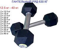 Гантельный ряд от 12 до 40 кг, набор гантелей 630 кг