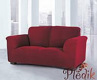 Чехол на диван натяжной 3-х местный Испания, Glamour Bordeaux бордовый