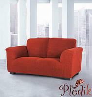 Чехол на диван натяжной 3-х местный Испания, Glamour терракот