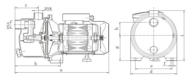 Поверхностный бытовой насос Euroaqua JY 1500 размеры