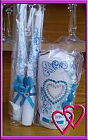 """Свадебные свечи набор """"Нежное сердце"""" Голубой"""